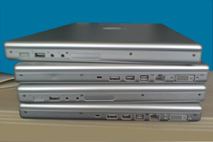 Stack of Macbook Pro laptops