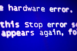 Blue screen of death with computer error message