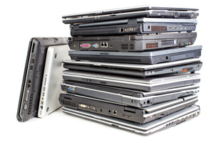 Stack of used laptops