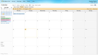 A sample Windows Live Calendar