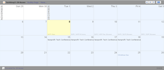 A sample calendar created with 30 Boxes