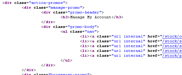 Screenshot of a HTML code example