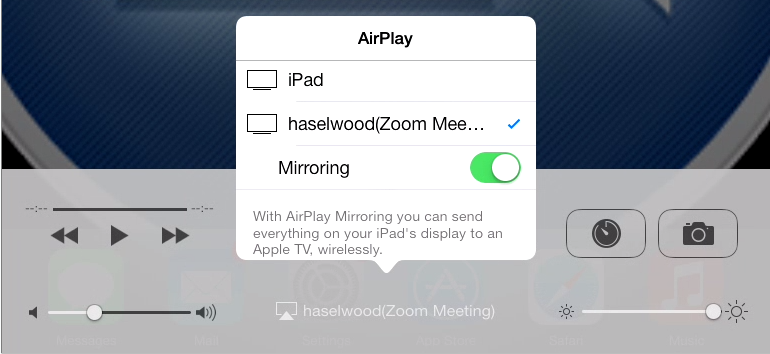 AirPlay with mirroring enabled