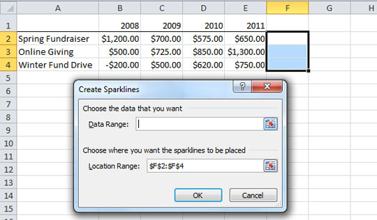 Screenshot - Create Sparklines dialog box