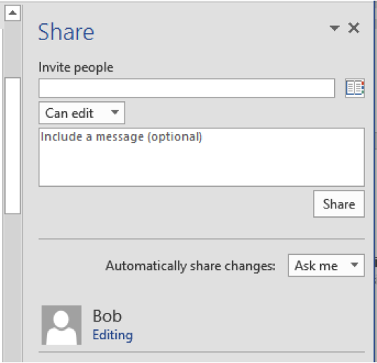 The Share panel