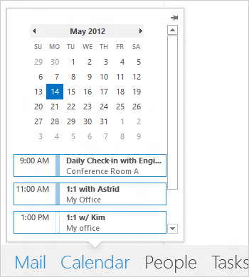 You can view what's coming up on your calendar while viewing your inbox (Screenshot courtesy of Microsoft)