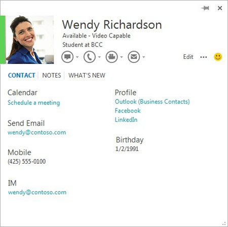 The People Card feature automatically pulls in information about a contact to a single place (Screenshot courtesy of Microsoft)