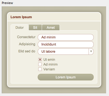 Sample theme that uses a brown and red color palette