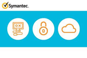 Symantec logo with illustrations of a computer, lock, and cloud
