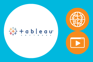 Tableau logo with illustrations of a globe and video player