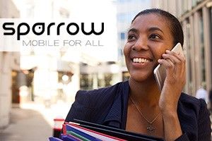 Woman with mobile device and Sparrow logo