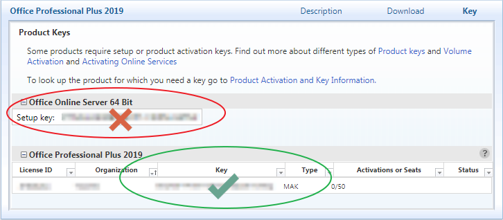 in the table beneaththe name of the product, find your product key in the column labeled key. the type column for this key should say mak, not kms.